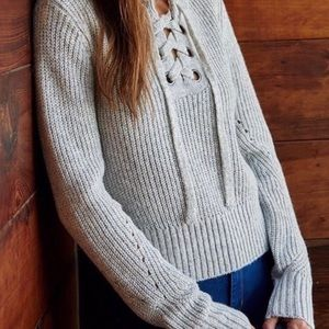 Kendall & Kylie Gray Lace Up Sweater